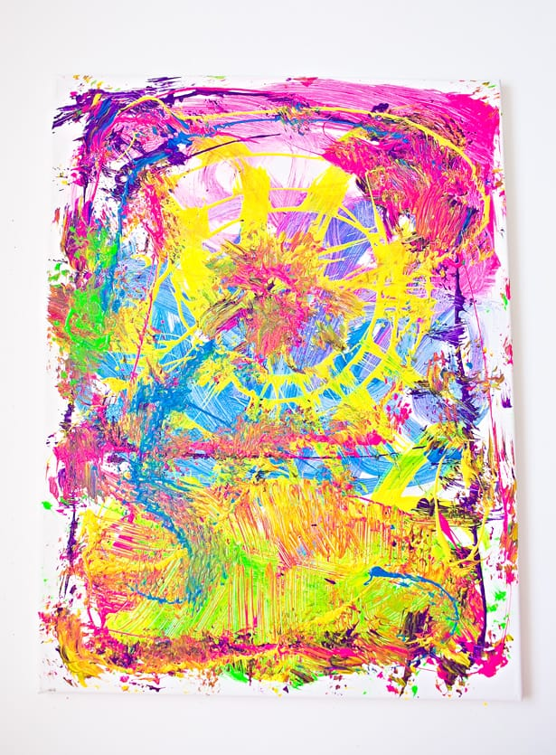 CLEANING BRUSHES PAINTING WITH KIDS: FUN PROCESS ART PROJECT