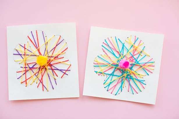 KID MADE DIY STRING ART FLOWER CARDS