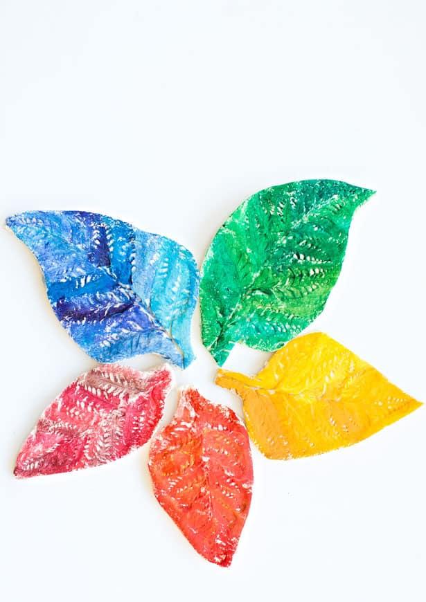 watercolor rainbow salt dough leaves
