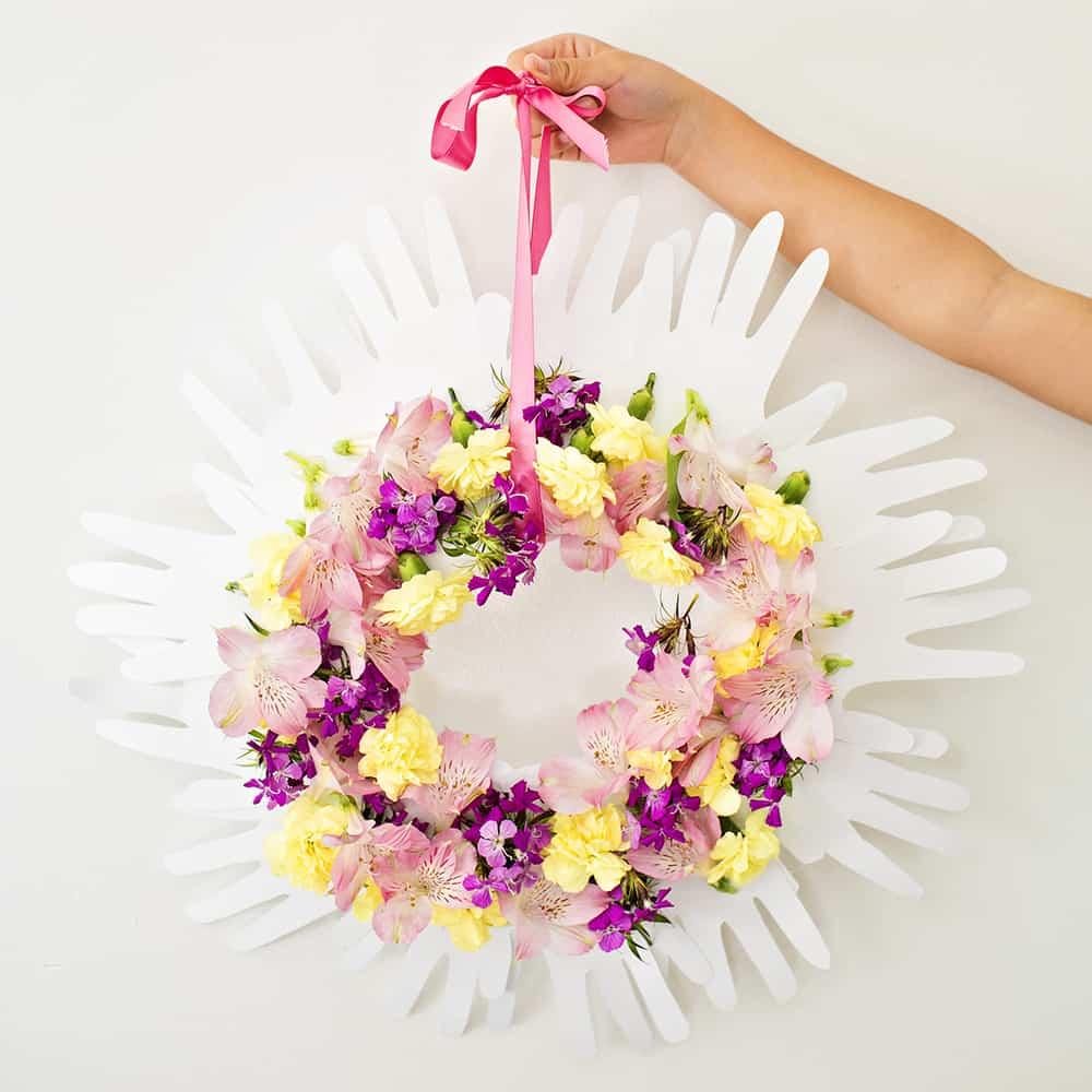 how to make a handprint flower wreath
