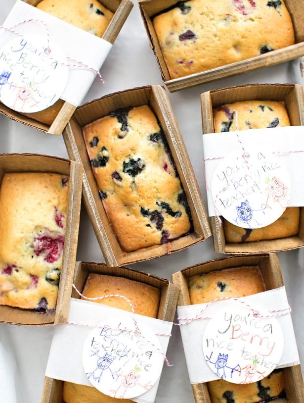 Easy Mini Berry Bread Loaves Teacher Appreciation Gift