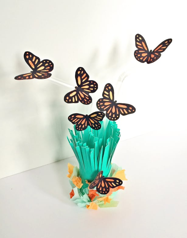 Hot Glue The Butterflies To The Straws And Add Crumpled Tissue Paper At The  Bottom To Create A Little Flower Garden.
