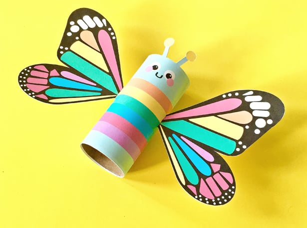 image relating to Butterfly Printable called RAINBOW BUTTERFLY PAPER TUBE CRAFT WITH Free of charge PRINTABLES