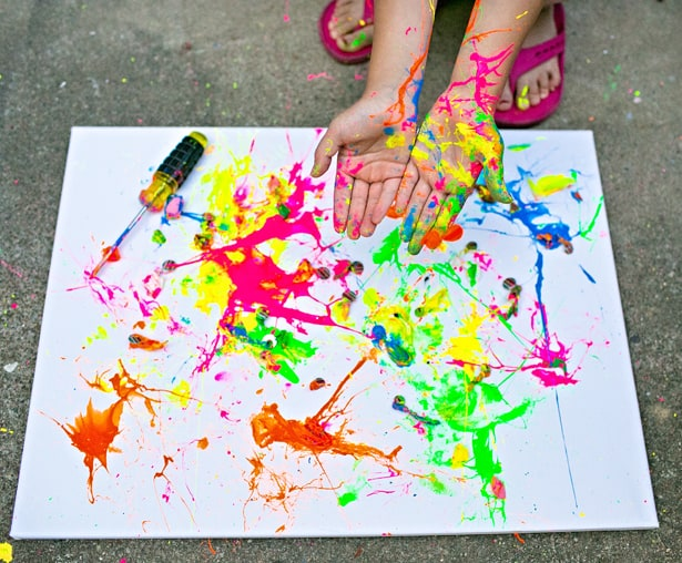 Balloon Splatter Painting With Tools Fun Outdoor Art Project For Kids