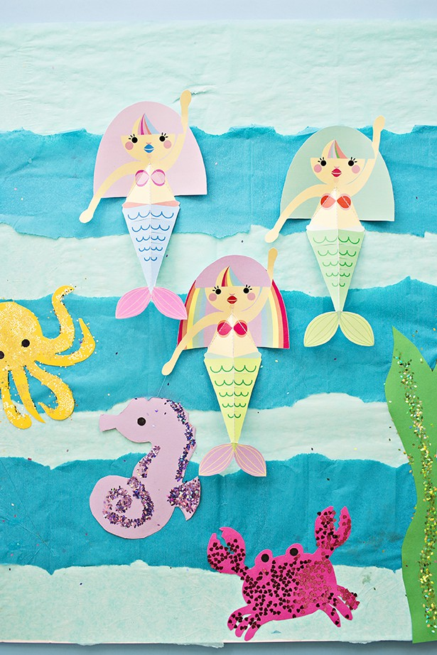 mermaid craft ideas swimming mermaid paper craft with free printables 2408