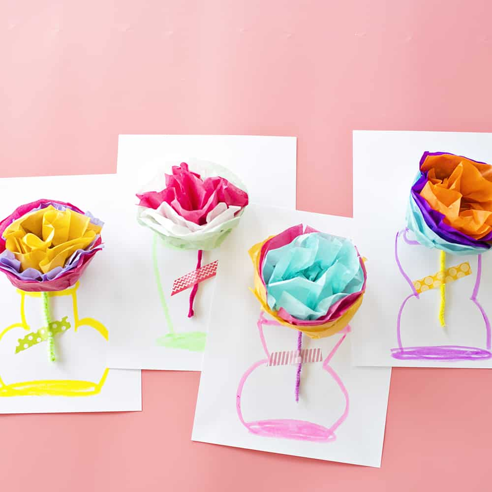 How To Make Tissue Paper Flower Cards With Video