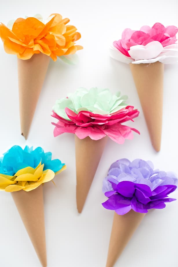 Make Tissue Paper Ice Cream Cone Flowers