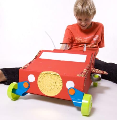 Turn any cardboard box into a car with rolobox toy wheels for How to make a cardboard box car that moves