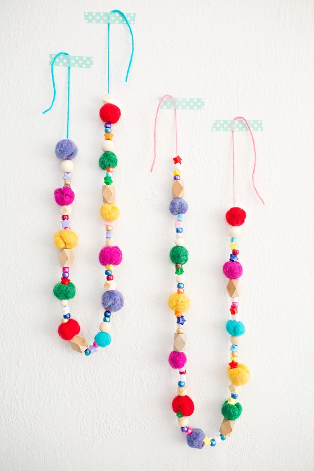 Kid Made Felted Ball Garland