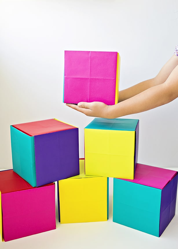 Kids Love Building Blocks And Surprises So We Decided To Combine The Two By Making These Huge Paper Boxes That Double As Surprise Or