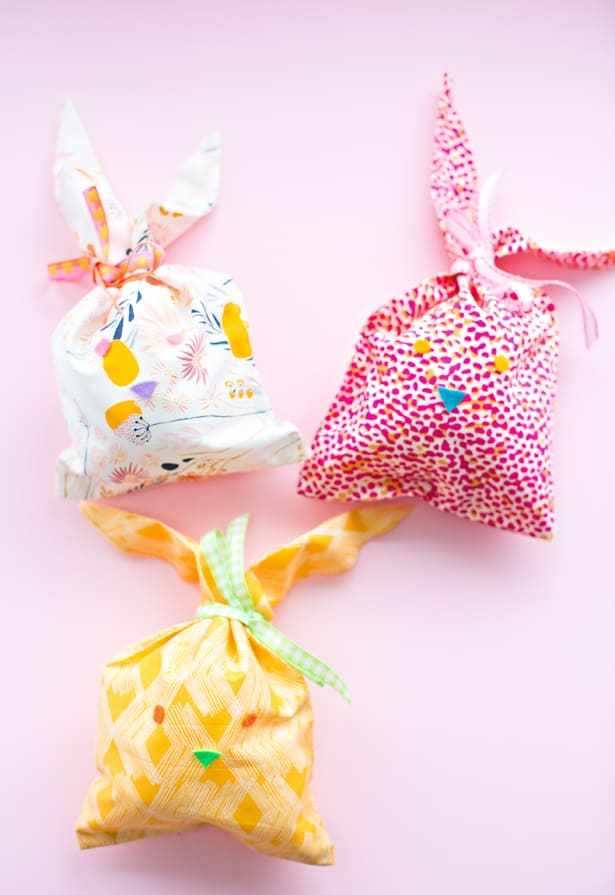 Hello wonderful easy no sew fabric bunny favor bags negle Choice Image