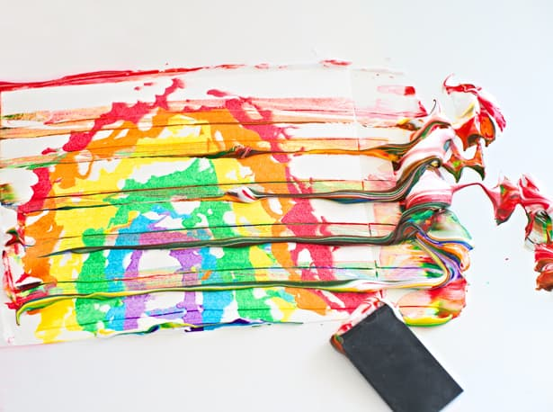 Rainbow Shaving Cream Marbled Art