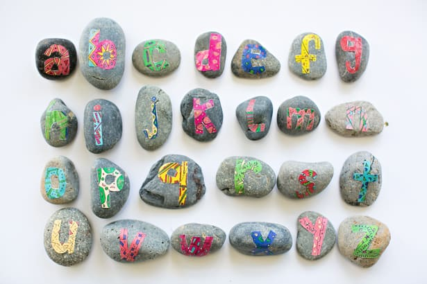 photo relating to Printable Letters identified as Do-it-yourself ALPHABET ROCKS WITH Totally free PRINTABLE LETTERS