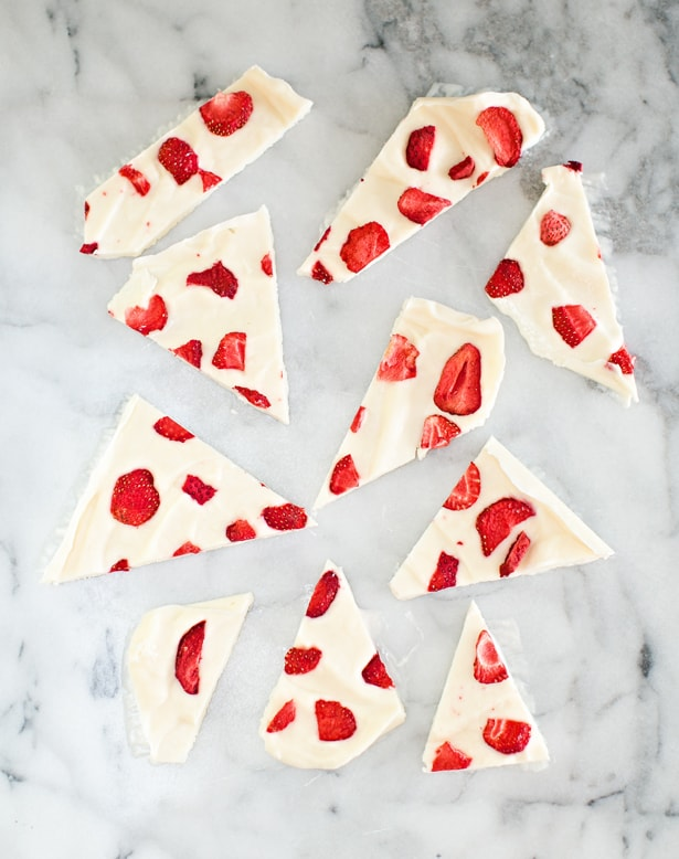 This simple strawberry frozen yogurt bark recipe makes a perfect quick snack or healthy dessert your kids will love.
