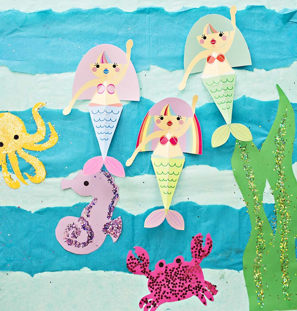 swimming mermaid paper craft with free printables