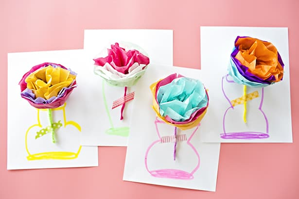 How to make tissue paper flower cards with video mightylinksfo