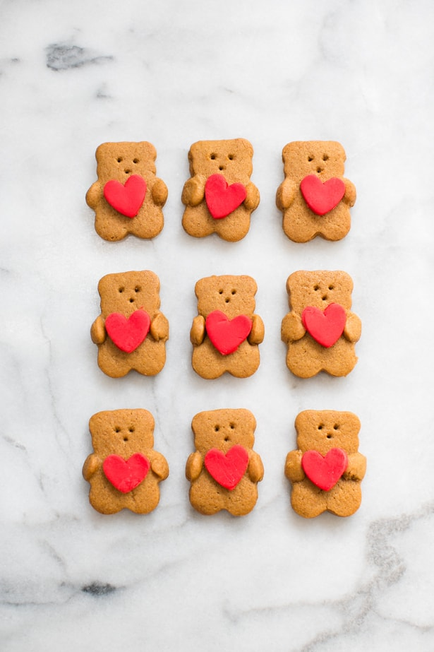 Valentine Bear Holding Heart Cookies