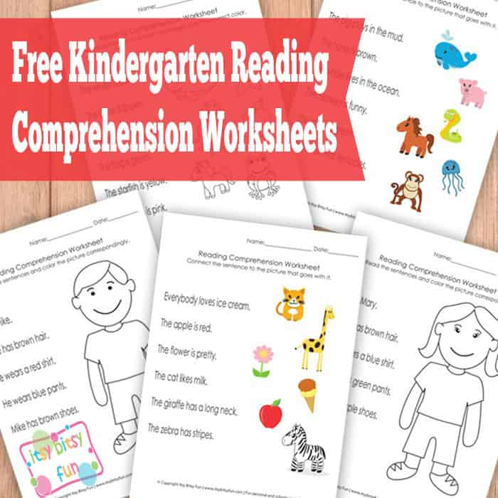 Zany image with free printable kindergarten reading worksheets
