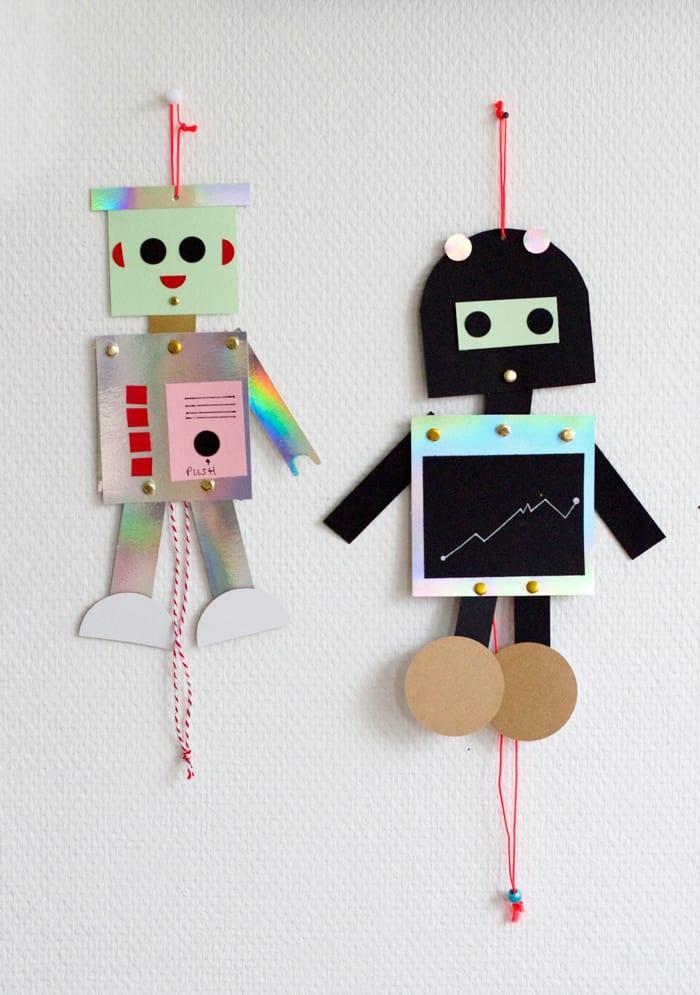 make cardboard robot puppets