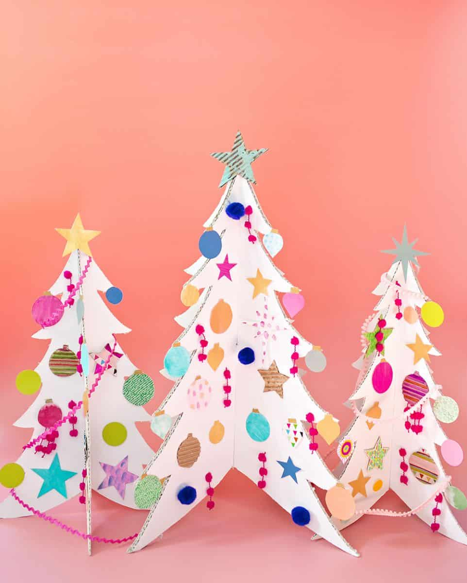 Cardboard Christmas Tree.Colorful Cardboard Christmas Trees And Diy Ornaments