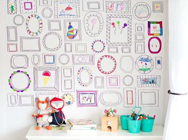 The Frames Wall Is Such A Vibrant Part Of Our Playroom Now Kids Just Love It And I That Its Removable We Can Start Over Again With More