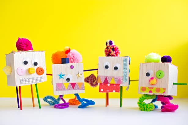 Kid made quirky tinker toy creatures for Craft toys for kids