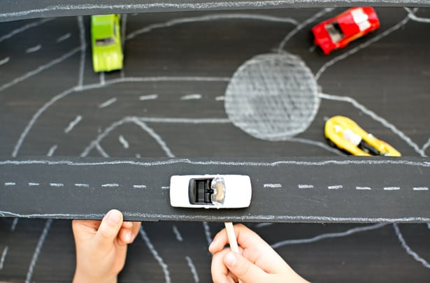 build a magnetic cardboard car racetrack
