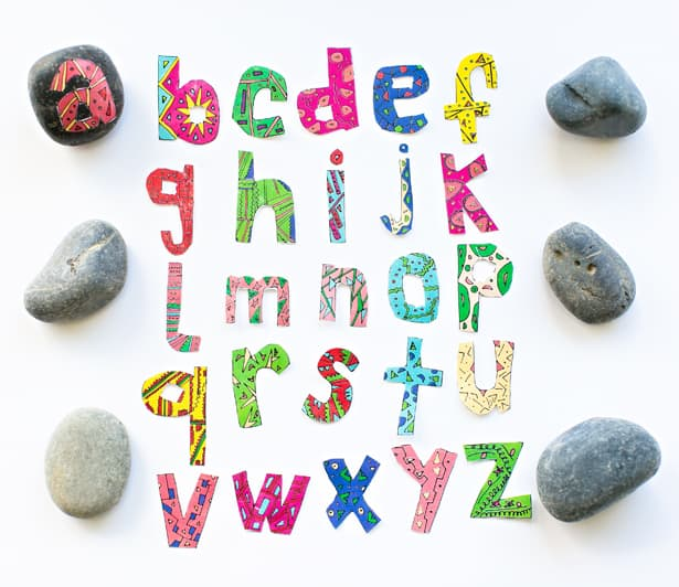 enjoy your alphabet rocks amd learn letters or make words with them you can print and make as many letters as youd like