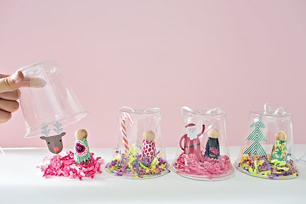 Recycled Plastic Cup Peg Doll Snow Globe Ornament