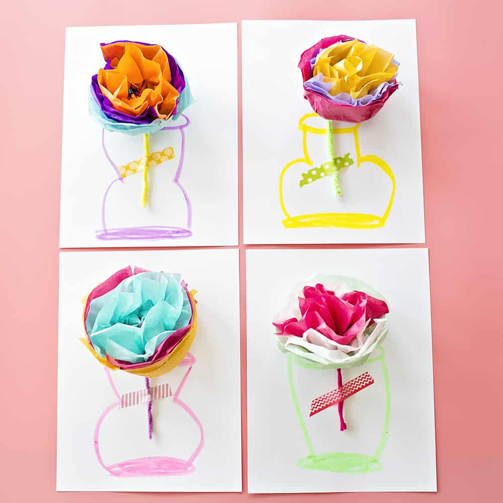 How to make tissue paper flower cards with video remember our tissue paper flower ice cream cones we have a similar and even simpler version for you to make this time these adorable and simple tissue mightylinksfo