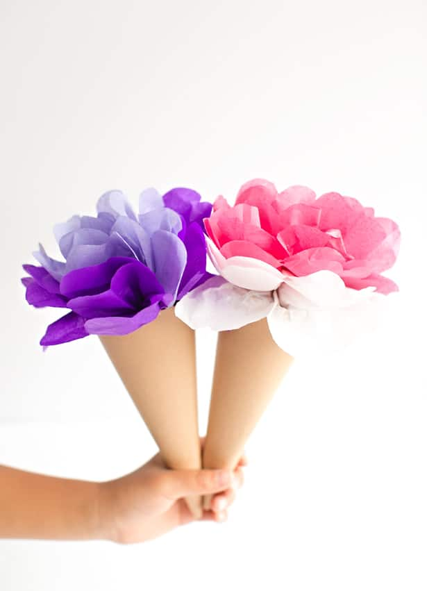 Make tissue paper ice cream cone flowers mightylinksfo