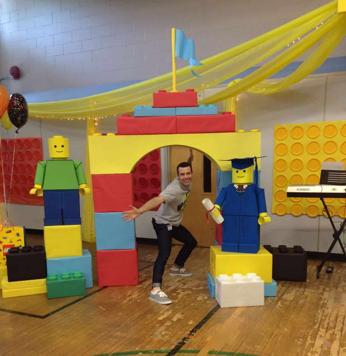 Lego Classroom Decor ~ Amazing cardboard lego created by teacher