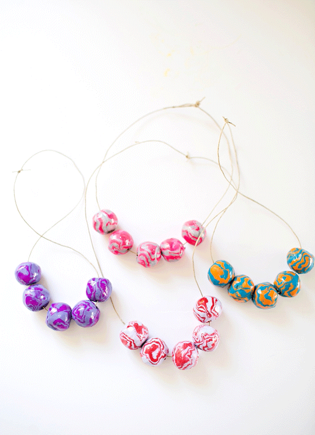 Make Clay Wooden Bead Necklaces