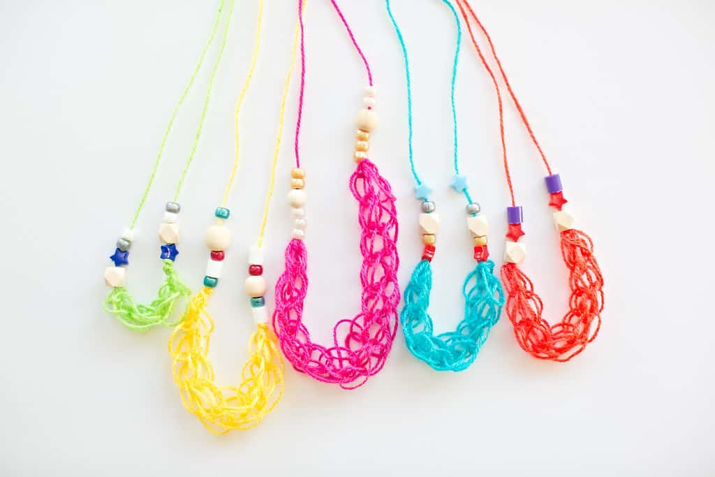 Kid Made Beaded Finger Knitting Necklaces