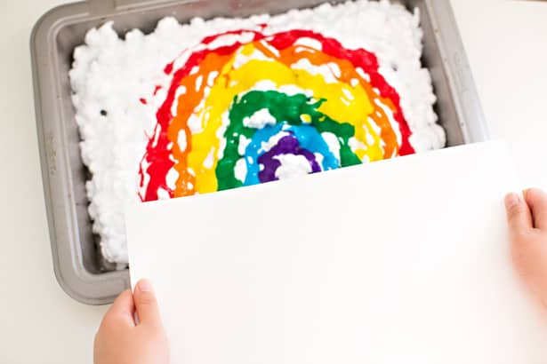 Rainbow Shaving Cream Art
