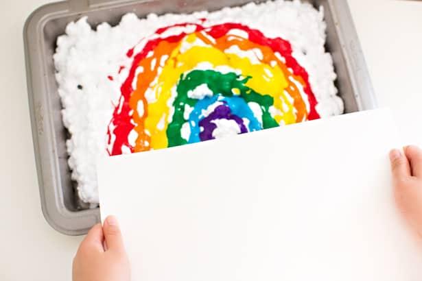 Rainbow Shaving Cream Art
