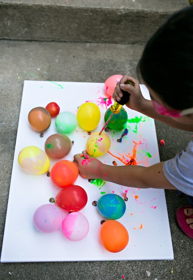 balloon splatter painting with tools fun outdoor art