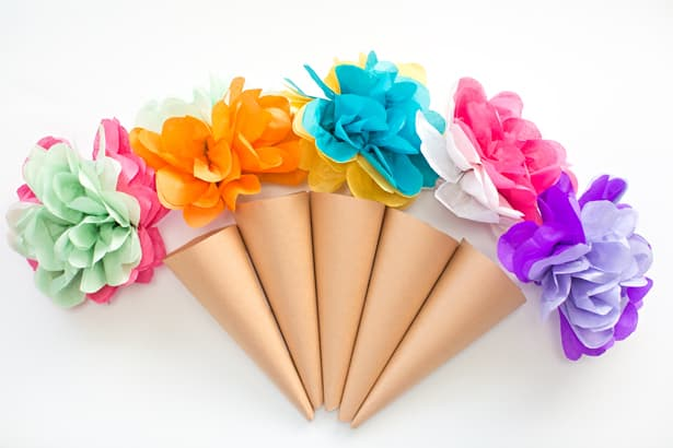 Make tissue paper ice cream cone flowers dont these make the prettiest bouquets of ice cream to surprise someone with or use them as cute ice cream party decorations mightylinksfo