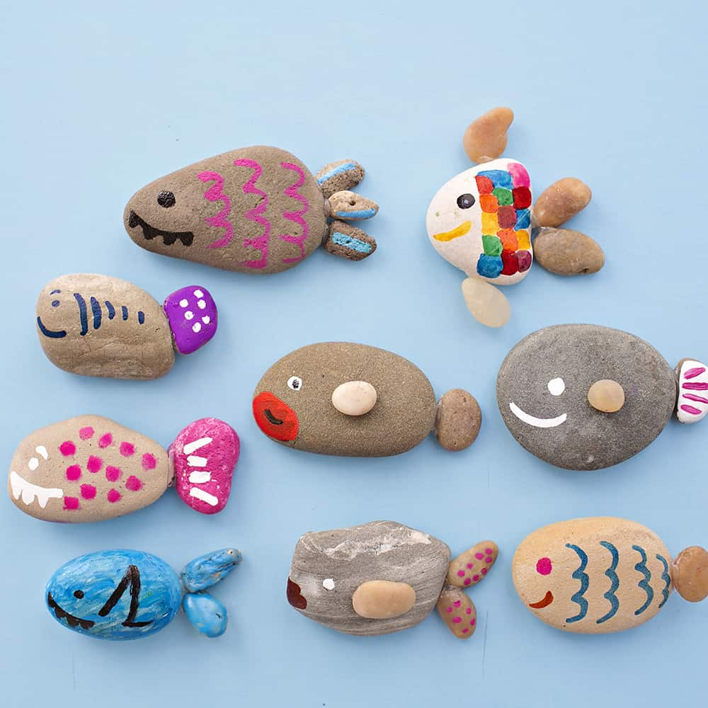 Cute rock fish craft for Crafts made from rocks