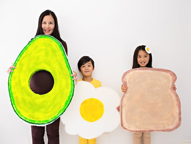 were all going as avocado toast this year ill do a big round up post of the four of us in costumes but wanted to share the standalone diy for this easy