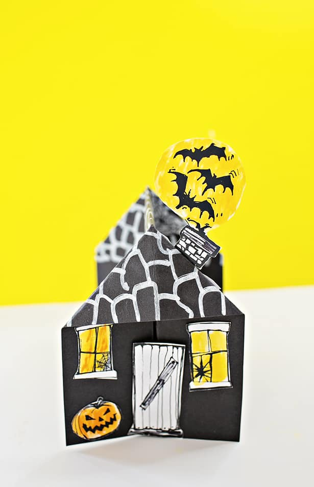 3d spooky paper haunted house craft