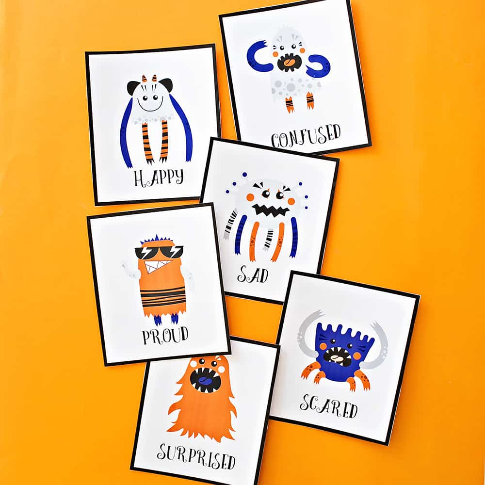 photo regarding Free Printable Emotion Cards named PRINTABLE MONSTER Feeling Playing cards FOR Children