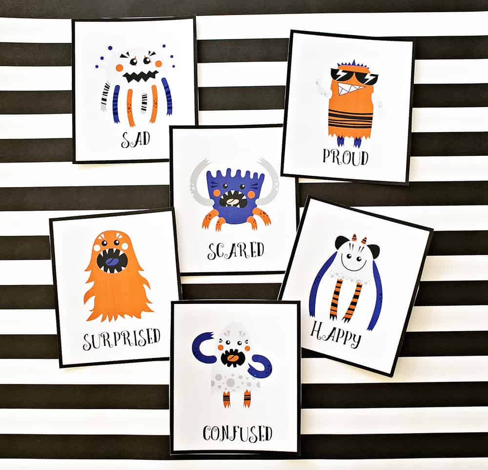 picture about Free Printable Emotion Cards named PRINTABLE MONSTER Feeling Playing cards FOR Young children