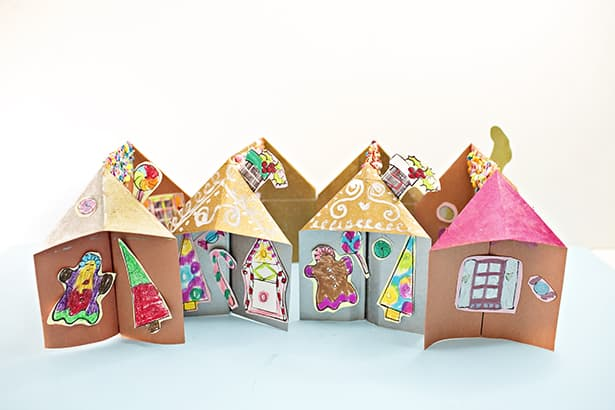 easy paper gingerbread house template  7D PAPER GINGERBREAD HOUSE CRAFT