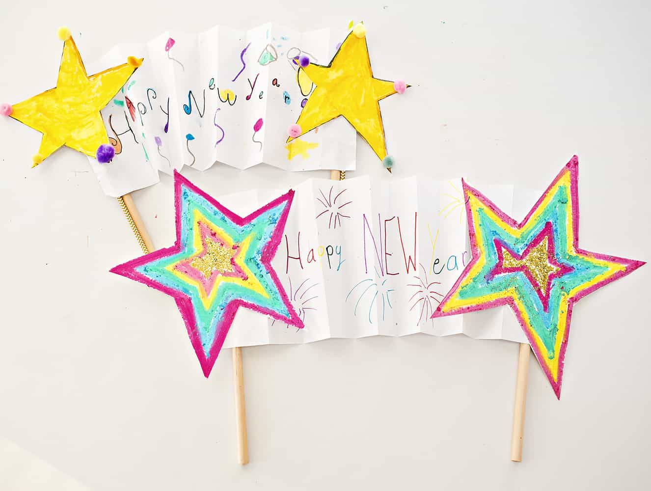 new year shooting star banner kids art