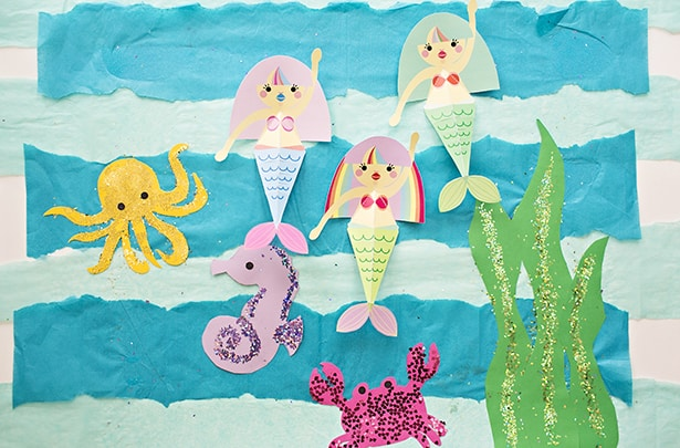 photograph regarding Free Printable Mermaid Template identify SWIMMING MERMAID PAPER CRAFT WITH Free of charge PRINTABLES