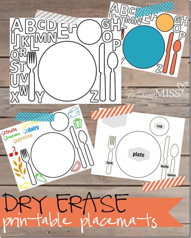 Free Printable Dry Erase Placemats