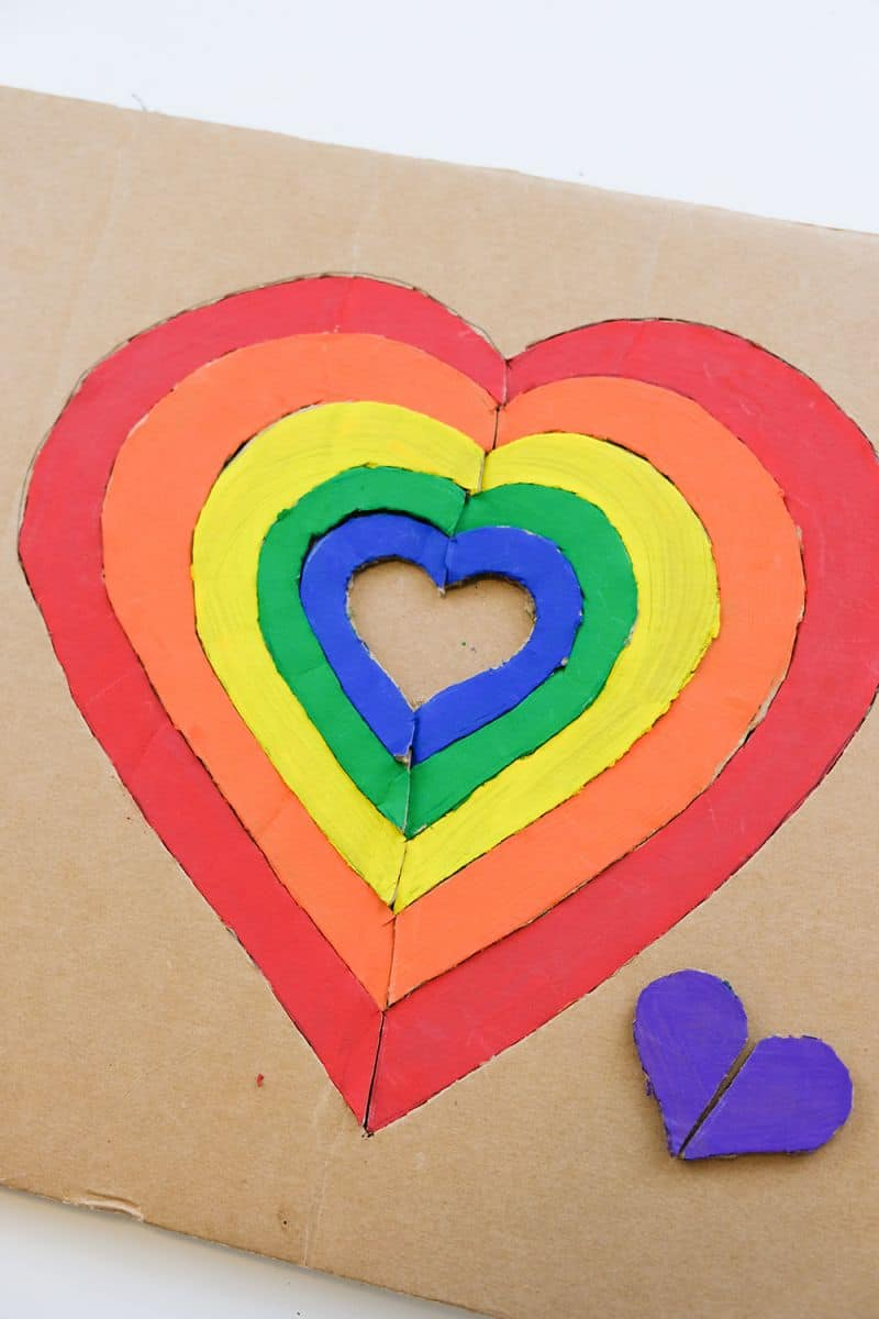diy rainbow hearts cardboard puzzle
