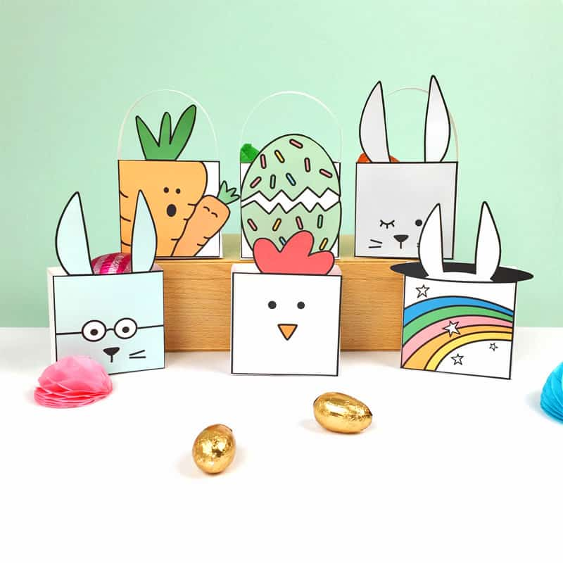Cute printable easter favor boxes with coloring options negle Choice Image