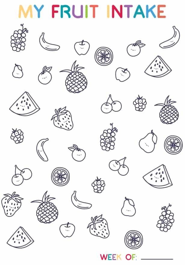 FRUIT TRACKER COLORING PAGE FOR